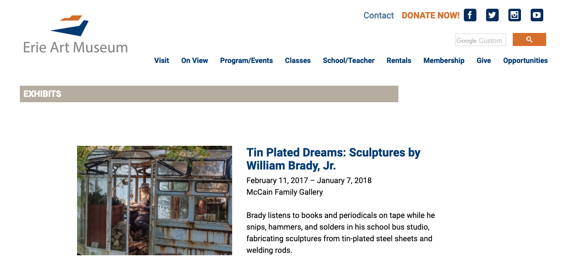 Tin Plated Dreams, Bill Brady exhibition, Erie Art Museum, 2017