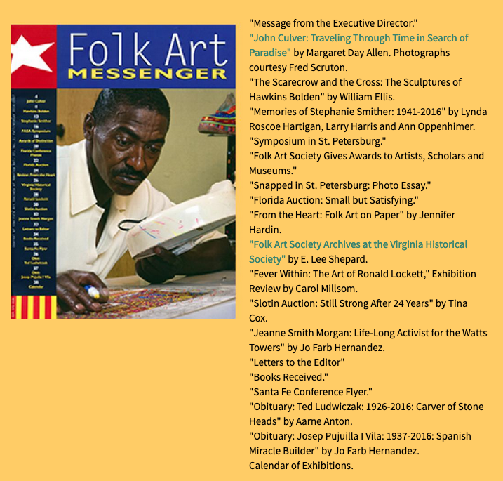 John Culver article with photography by Fred Scruton in Folk Art Messenger Magazine