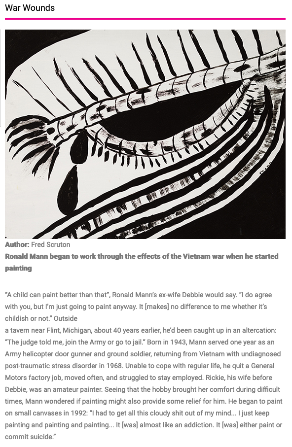 Ronald Mann: Article by Fred Scruton in Raw Vision Magazine