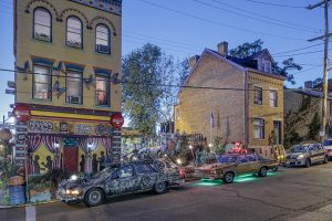 Clarke Bedford's  TIANTIC, Melanie Harris'  TIKI CAR, and Greg Phelps'  THAT CAR at Randyland, Pittsburgh, PA 2016