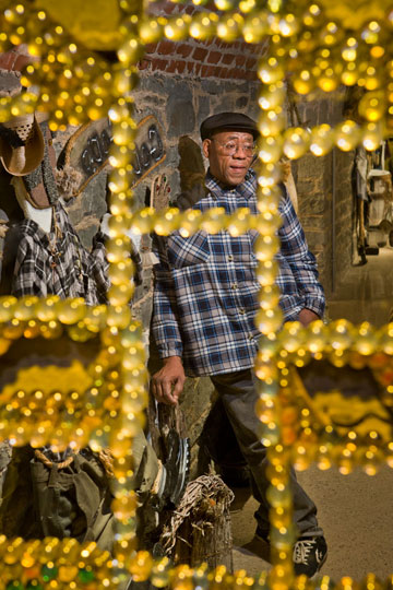Willie Jordan in his installation