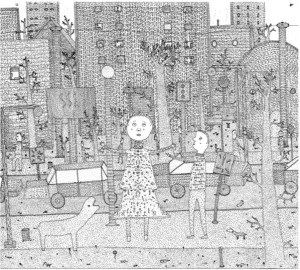 """Morris Jackson drawing: """"Lost in the City"""" 12x15 in"""