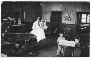 Joe Battaglia in his barbershop in the early 1920's