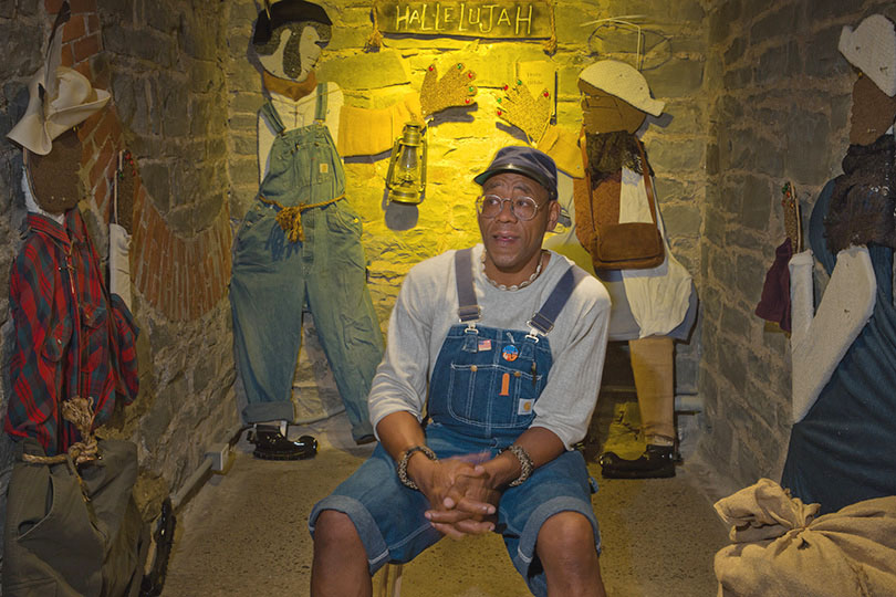 Willie Jordan in his installation at the Erie Art Museum; Erie, PA 2012 (a)